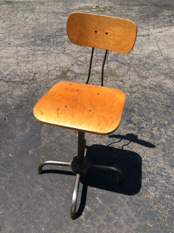 Vintage Adjustrite Wood / Metal Stool.
