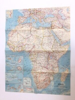 "1960 Vintage National Geographic Map of Africa 19"" X 25"""