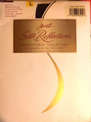 - Vtg Hanes  SILK REFLECTIONS Pantyhose  Size EF Barely BLACK Matt Sheer Leg