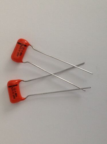 2 NOS .047uf 100v Genuine Old School Black Line 225P Orange Drop Tone Capacitors