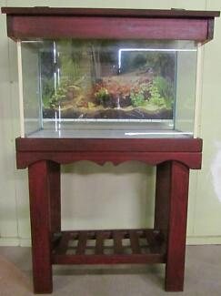 FISH TANK ON MAHOGANY STAND WITH HOOD (2 FOOT) BONUS ACCESSORIES! Upper Mount Gravatt Brisbane South East Preview
