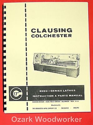 Clausingcolchester 17 8000 Series Metal Lathe Operator Part Manual 0158