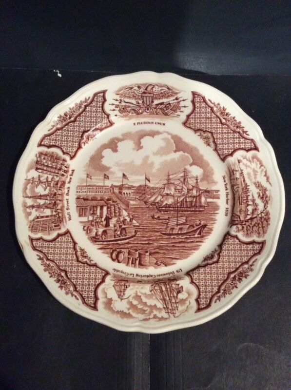 """ALFRED MEAKIN: FAIR WINDS """"FOREIGN TRADING HEADQUARTERS CANTON"""" 9"""" SALAD PLATE"""