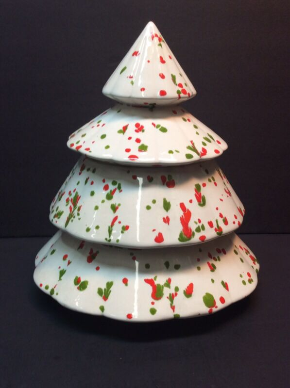Vintage Ceramic Candy Cookie Jar Splatter Paint Approx. 8""