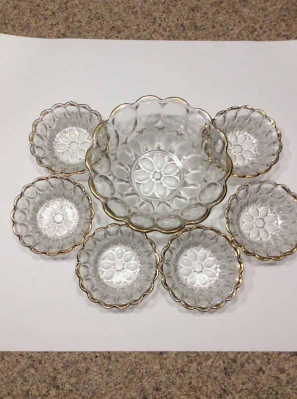 "Jeannette Thumbprint Glass Dessert Bowl Set. Gold Trim, (1) 9-1/4""& (6) 5""Single"