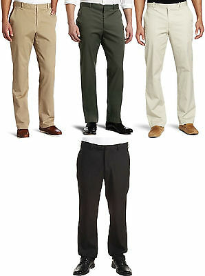 NEW PERRY ELLIS CITY TWILL CLASSIC FIT COTTON STRETCH FLAT FRONT PANTS