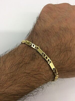 14kt Yellow Gold Tiger Eye Bar Link Mens Bracelet 14kt Yellow Gold Mens Bracelet