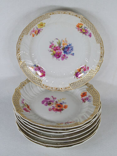 Antique KPM Germany Berlin Porcelain Set of 8 Pierced Reticulated Plates