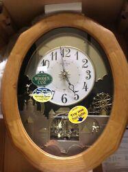 RHYTHM-4MH863WU07-TIME CRACKER GOLDEN OAK II MAGIC MOTION SOLID OAK WALL CLOCK