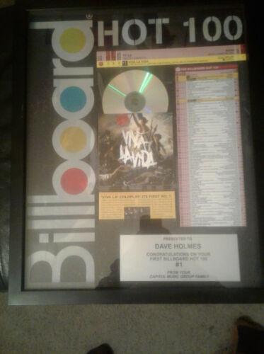 Coldplay Viva La Vida first #1 award Capitol to mgmt 1 of a kind Chris Martin