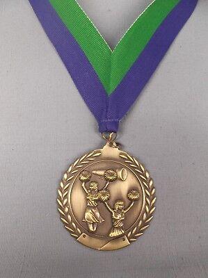 Groß Gold Cheerleading Medaille Breit Blau/Grün Hals Drape Trophäe (Gold Medaille Kostüm)