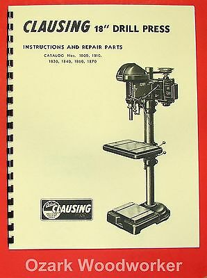 Clausing Atlas 18 1800 Series Drill Press Operating Part Manual 0151