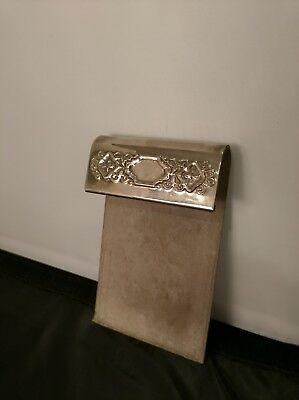 Vintage ornate silver toned desktop notepad memo holder Desktop Notepad Holder