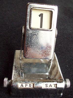 "Vintage Metal Mechanical Perpetual Desk Calendar 2.5"" x 2"" x 2"""
