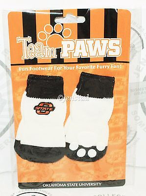 ONE PACK OF 4 DOG PET SOCKS - TEAM PAWS NCAA OKLAHOMA STATE UNIVERSITY MEDIUM