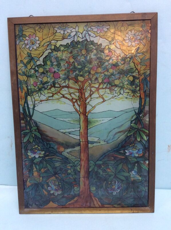 "Glass Window Panel Signed Louis C. Tiffany 9 1/4""x13"""