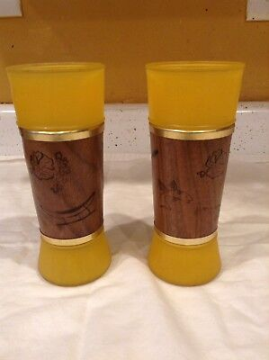 Vintage Siesta Wore Drinking Glasses Wood Wrap Yellow Unique Rare Shot Alcohol
