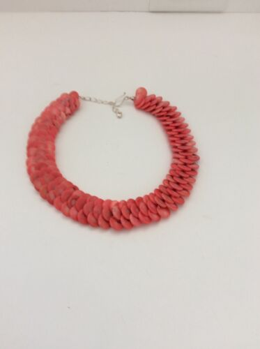 Jay King  DTR Peach Coral Disk Chocker  Necklace Sterling Catch