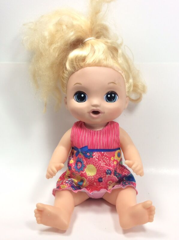 """BABY ALIVE Sweet Tears Blonde Baby Doll  35+ Sounds Cries 2016 Hasbro 14"""""""