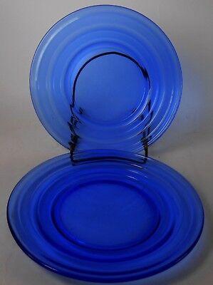 (HAZEL ATLAS Depression Glass MODERNTONE COBALT BLUE Set of 2 Bread Plates - 6
