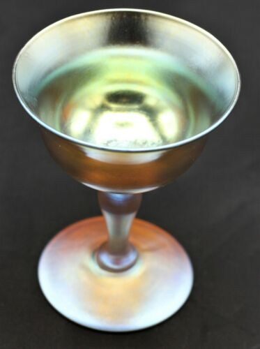 "Antique Tiffany Studios Dessert or Wine glass with superior color: ""LCT Favrile"""