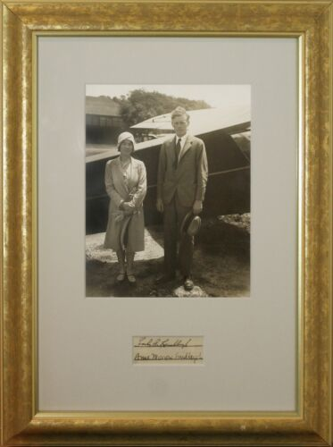CHARLES A. LINDBERGH AND ANNE MORROW LINDBERG SIGNED CUT OUT, FRAMED