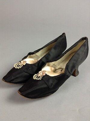 Vintage 1920's Black Silk Evening Heels