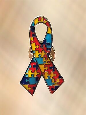 - NEW Autism Awareness Puzzle Ribbon Lapel Pin Charity Brooch Style 1