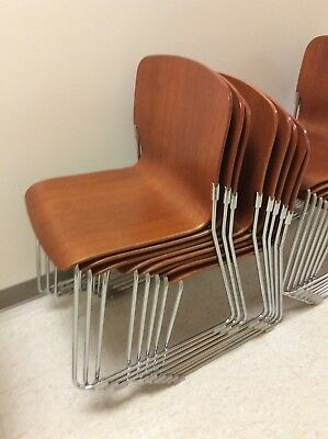 95 Vtg David Rowland S 40 4 Mid Century Modern Wood    Chrome Chairs   Very Good