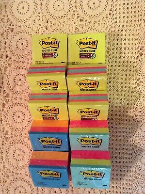Lot Of 10 Post-it Note Cubes 3x3total Of 3760 Notesassorted Colors