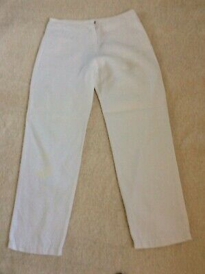 Hussein Chalayan designer pure linen cream trousers drop waist size M