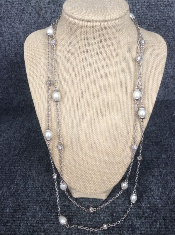 "Beautiful  Judith Ripka sterling 925  pearl diamonique necklace 55"""