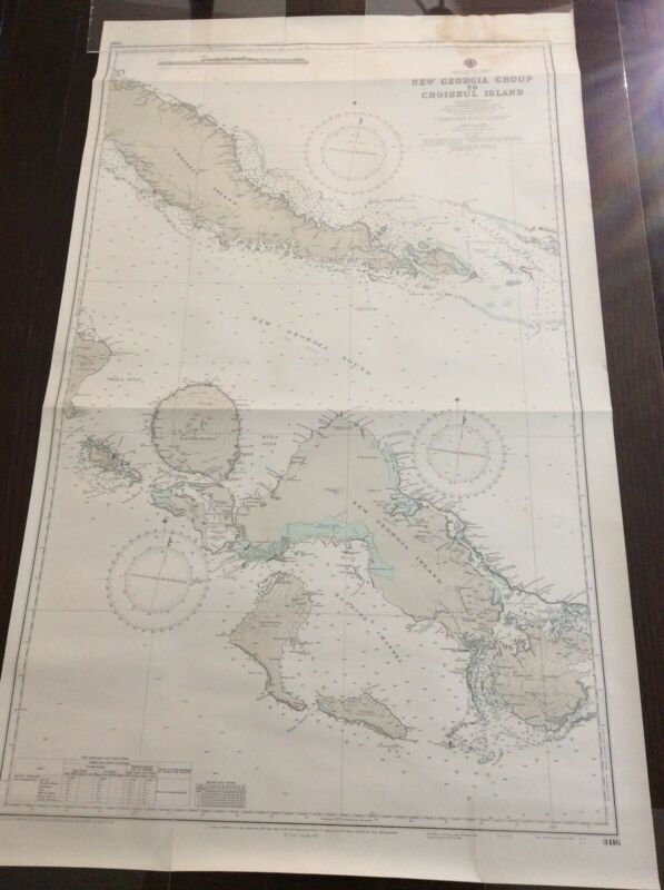 LARGE Vintage 1972 Nautical Chart Map South Pacific Solomon Islands New Georgia