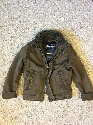 Abercrombie Mens MacIntyre Bridge Fur Jacket Coat Brown A&F RARE - Medium