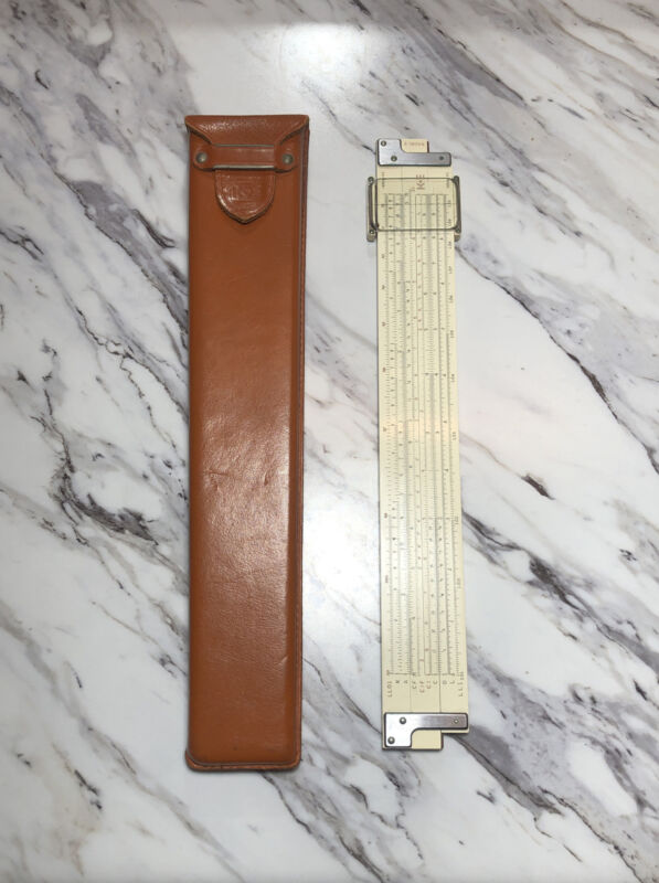 Vintage Slide Rule Keuffel & Esser K+E KE model N4081-3 with Leather Case