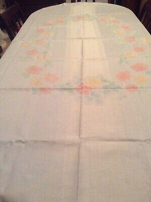 Large Patterned Damask linen tablecloth pastel colours floral  ( M3 )