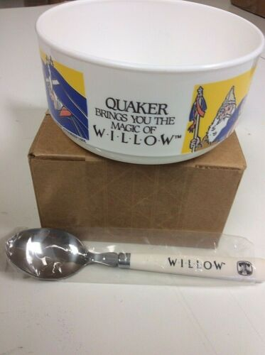 Vintage 1988 Lucas Films Magic of Willow Quaker Oats Oatmeal Promo Bowl & Spoon