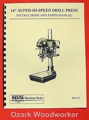 Delta 14 Super-hi-speed Drill Press Operator Part Manual 0200