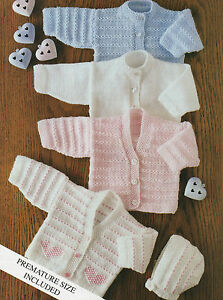 Baby Knitting Patterns 4 ply Cardigan 4 Designs 14 -22 inch Chest #3