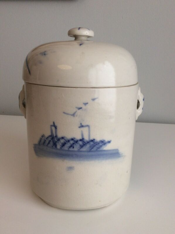 Rare Large Chinese Export Blue White Tea Caddy Canister Jar