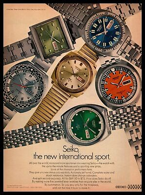 1969 Seiko Time Corp. Automatic 17 Jewels Colored Dial Watches Vintage Print Ad