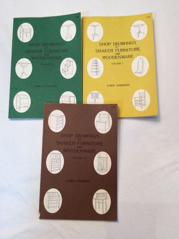 1973 Shop Drawings Of Shaker Furniture & Woodenware Vols 1-3 Ejner Handberg