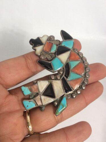 Old pawn Native american Zuni silver multi stone rainbow man Pin Brooch