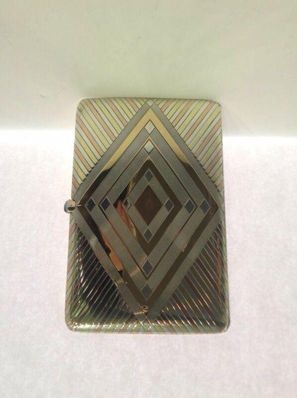 Art Deco Sterling Silver And Gold Cigarette Case. France. Antique