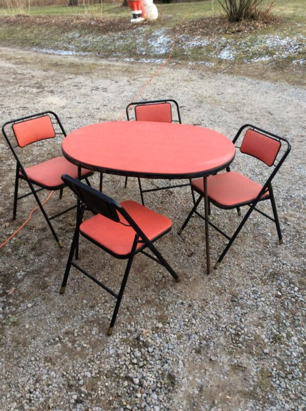 Vintage Samsonite Folding Table & Chairs RED Mid Century Modern 50s 60s 5pc Set
