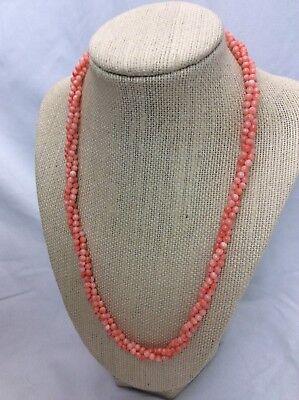 (Salmon angel skin coral 14k gold beads 3 Strands Torsade necklace vintage)