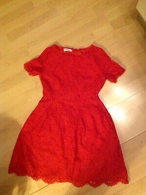 Elegantes Kleid aus Spitze in rot, Gr. 32-34 Für Teenager Etuikleid Gefüttert