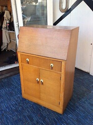 Vintage Maple bureau cabinet with One drawer And Cupboard Cash On Pick Only
