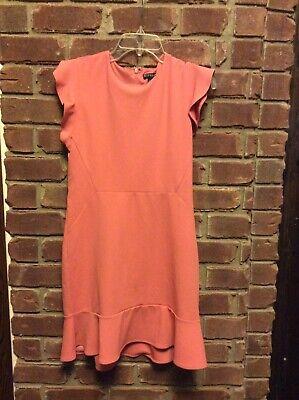 Nwot Express Rose Ruffle Sleeve Fit & Flare Dress Sz - Rose Ruffle Dress