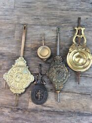 5 Assorted American Kitchen / Mantel / Shelf Clock Pendulums
